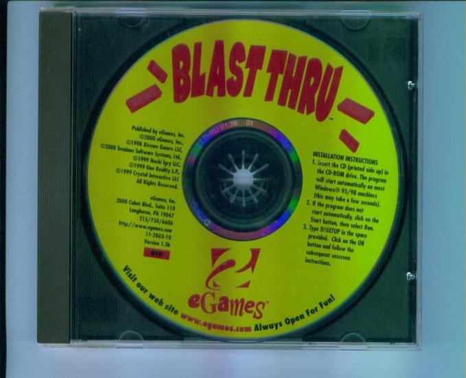 eGames Blast Thru Brick Busting Computer Game V1.3b Windows 95 98