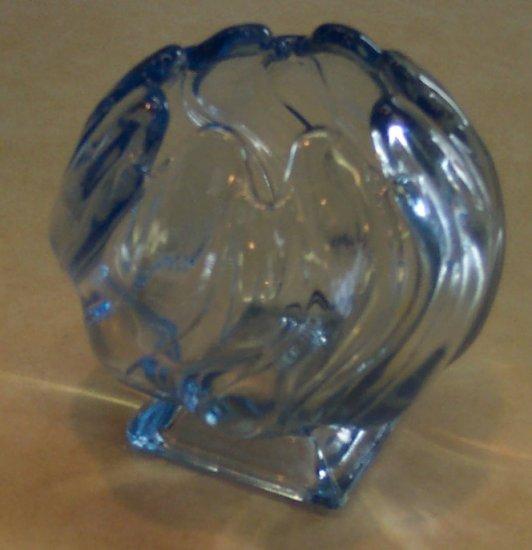 Vintage Made in England Light Blue Glass VASE Bowl Flower Design Locw20