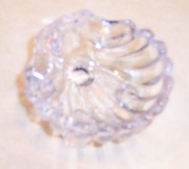 Small Crystal Like Pressed Glass Salt Dish Ring Holder Shell