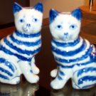 Beautiful Blue Cat Kitty Figurines Hand Painted Unique
