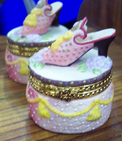 Sweet Porcelain Shoe Topped Trinket Box