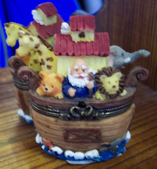 Cute Noah's Ark Trinket Box Bear, Lion, Giraffe and an Elephant