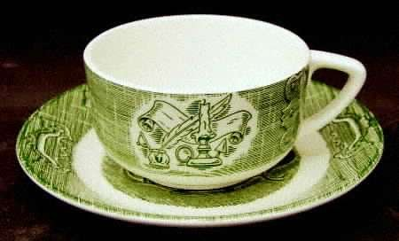 Vintage The Old Curiosity Shop Cup Mug Only Green Dinnerware Currier & Ives