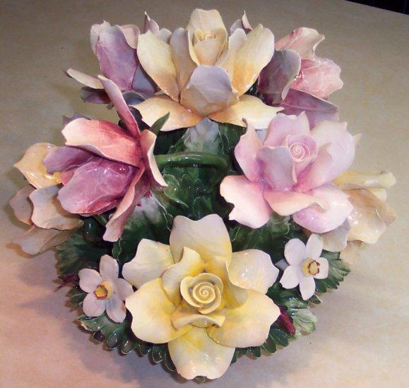 Capi De Monte Basket of Flowers Beautiful Capidemonte Italy Signed