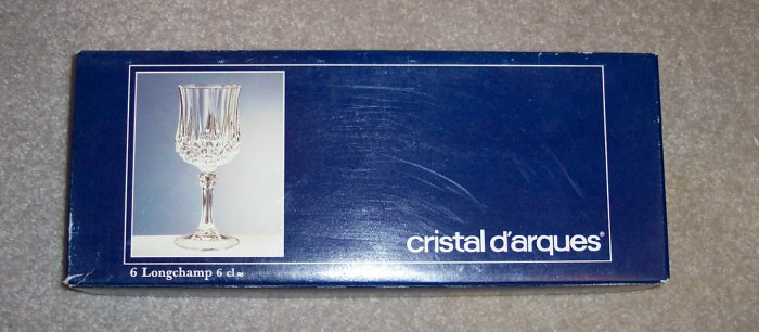 Cristal D'arques 6 CL Longchamp Crystal Cordial Glasses Stemware Set of 6 In Original Box 101