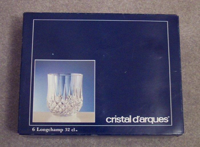 Cristal D'arques 32 CL Longchamp Crystal On The Rocks Glasses Stemware Set of 6 Original Box