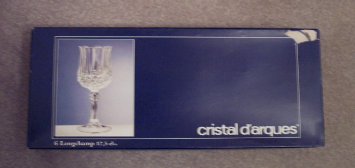 Cristal D'arques 17.5 CL Longchamp Crystal Wine Glasses Stemware Set of 6 In Original Box