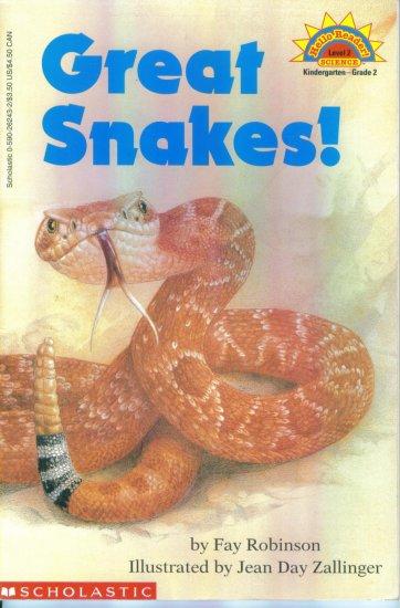 Hello Reader Science Level 2 Great Snakes Fay Robinson ~ Kindergarten - Grade 2 location102