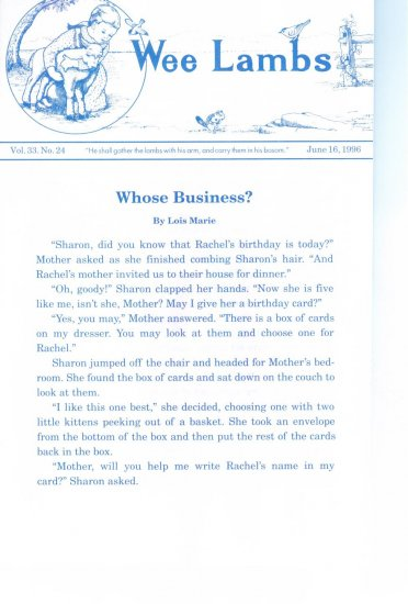 Wee Lambs Volume 33 No. 24  June 16 1996 ~ Rod and Staff Publishers ~ Back Issue Leaflet