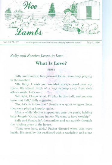 Wee Lambs Volume 33 No. 27 July 7 1996 ~ Rod and Staff Publishers ~ Back Issue Leaflet