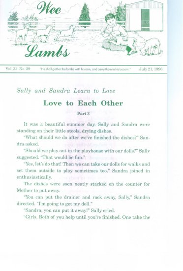 Wee Lambs Volume 33 No. 29 July 21 1996 ~ Rod and Staff Publishers ~ Back Issue Leaflet