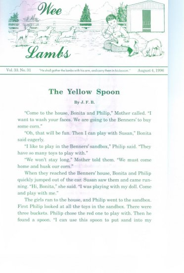 Wee Lambs Volume 33 No. 31 August 4 1996 ~ Rod and Staff Publishers ~ Back Issue Leaflet