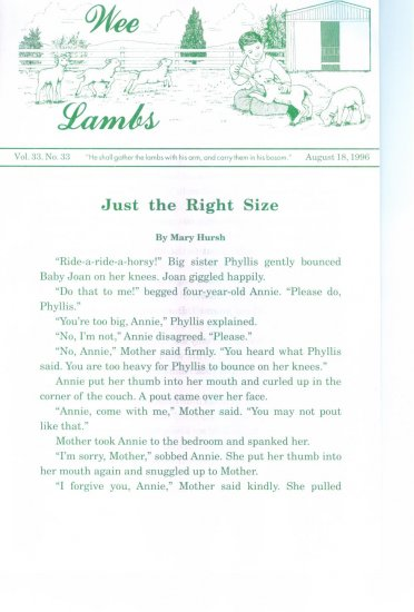 WEE LAMBS Volume 33 No. 33 August 18 1996 ~ Rod and Staff Publishers ~ Back Issue Leaflet