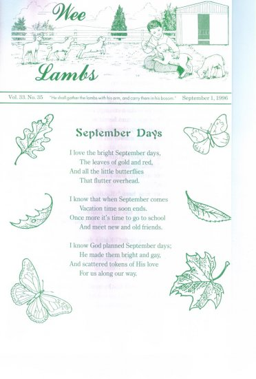 WEE LAMBS Volume 33 No. 35 September 1 1996 ~ Rod and Staff Publishers ~ Back Issue Leaflet