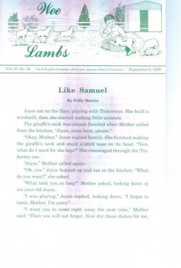 WEE LAMBS Volume 33 No. 36 September 8 1996 ~ Rod and Staff Publishers ~ Back Issue Leaflet