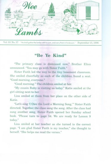 WEE LAMBS Volume 33 No. 37 September 15 1996 ~ Rod and Staff Publishers ~ Back Issue Leaflet