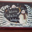 NIP Warm Winter Wishes Unframed Art ~ Pat Fischer ~ Wall Art Decor Snowman