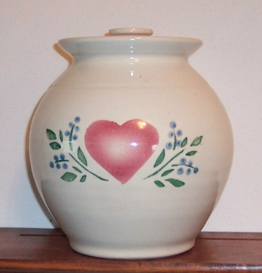 Heart Print Canister Jar with Lid Pottery Ceramic Pottery Cookie Jar Americana locw20