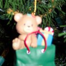 Vintage 1992 Lustre Frame LTD Chirstmas Bear in Gift Bag With Gifts Ornament Old Ornaments ORN6 box3