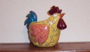 Vintage Crackle Painted Cartoon ROOSTER Bird Planter Whimsical Odditiy