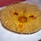 Vintage Amber Depression Glass Floral FOOTED TRAY Plate Retired Pressed Glass