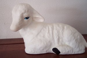 Vintage ENESCO Lying Down LAMB Figurine 1988
