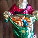 Vintage Gold SANTA Painted Plastic Ornament Old Ornaments Red Coat with Green Toy Bag 1M
