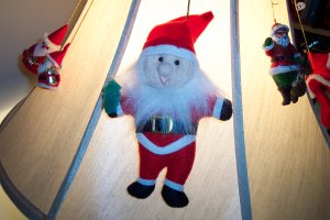 Vintage Stuffed Felt Elf Santa Ornament Old Ornaments 1M