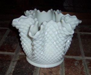 Westmoreland English Hobnail Pinch Fluted Large Vase