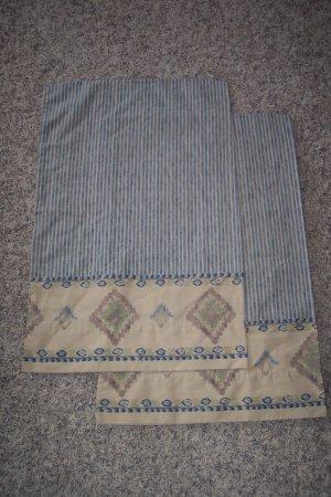 1 Pair of Blue Striped Southwest Pattern Vintage Pillowcases Pillow Case Linens locationw8