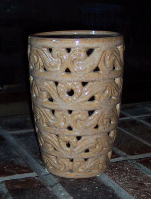 Vintage Large Caramel Pink Glazed Openwork Filigree Vase