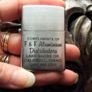 Vintage Silver Flip Top Lighter F & F Aluminum Distributors Lake Shore Drive Caldwell Idaho