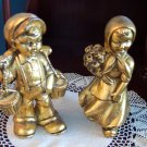 Vintage Goldleafed Dutch Boy and Girl Figurines Possibly German Children