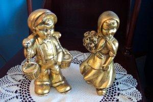 Vintage Goldleafed Dutch Boy and Girl Figurines Possibly German Children