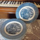 "Blue Currier & Ives Dinner Plates 10"" The Old Grist Mill Royal China Company China location19"