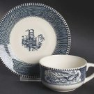 Blue Currier & Ives Flat Cup & Saucer Set by Royal Dinnerware Box19