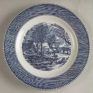 "Rare Blue Currier & Ives Luncheon Plates 9 1/8"" the Old Grist Mill by Royal Dinnerware Box19"