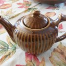 Fraunfelter Cream and Brown Ribbed Teapot Mint Locationkit