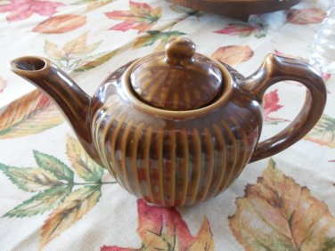 Vintage Fraunfelter Cream Brown Ribbed Teapot Mint Locationblack11