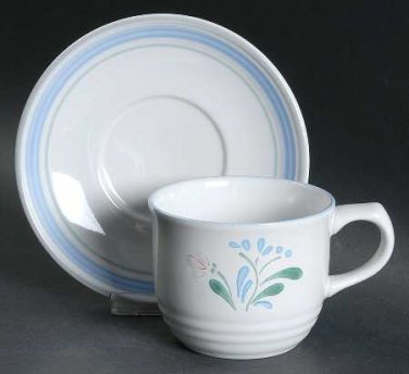 Yamako Fascino Flat Cup and Saucer Set Dish Retired Dinnerware Dishes location26