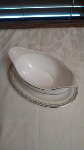 Vintage Pope Gosser Made in USA China Gravy Boat with Attached Underplate Arvilla locshop