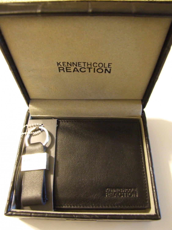 e8a3cc95f KENNETH COLE Billetera Cuero Negro con Llavero (Black Leather Wallet with  key chain)