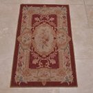 2x4 AREA RUG FRENCH AUBUSSON SAVONERRIE BURGUNDY GOLD