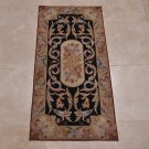 2x4 AREA RUG FRENCH AUBUSSON SAVONERRIE BLACK GOLD NEW