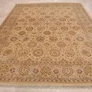 9x12 RUG PERSIAN VEGETABLE DYE WOOL IVORY GOLD w SILK