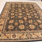 9x12 WOOL AREA RUG PERSIAN ANTIQUE STYLE BLACK IVORY