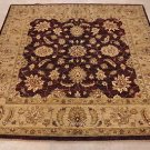 6 FT SQ AREA RUG WOOL HANDMADE VEGETABLE DYE PLUM BEIGE