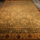 12x18 WOOL AREA RUG TRIBAL GREEN IVORY HANDMADE KNOTTED