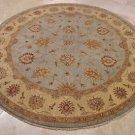 8 FOOT ROUND RUG VEGETABLE DYE LIGHT BLUE HONEY CHOBI