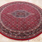 8 FOOT ROUND RUG HANDMADE WOOL BIDJAR RED BLUE TRIBAL